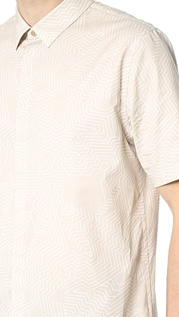 Helmut Lang Minimalist Labyrinth Print Short Sleeve Shirt