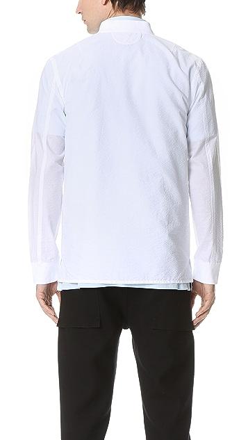 Helmut Lang Whisper Seersucker Bomber Shirt