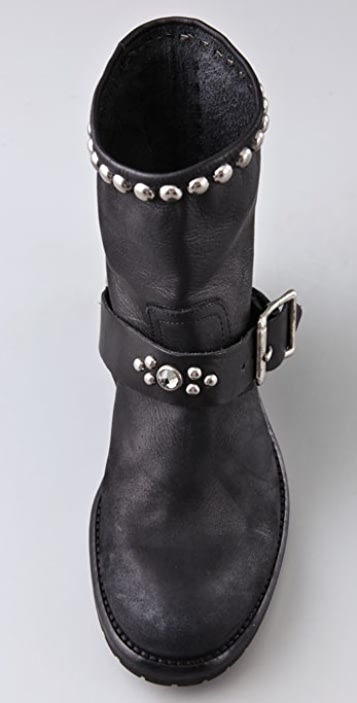 Hollywood Trading Company Motor Booties with Stud & Stone Strap