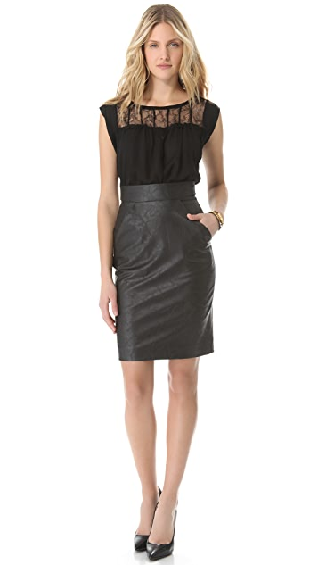 Heidi Merrick Ink Vegan Leather Skirt