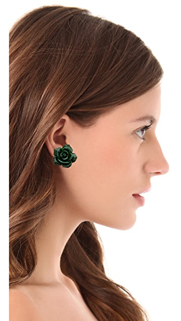Holst + Lee Emerald Flower Stud Earrings