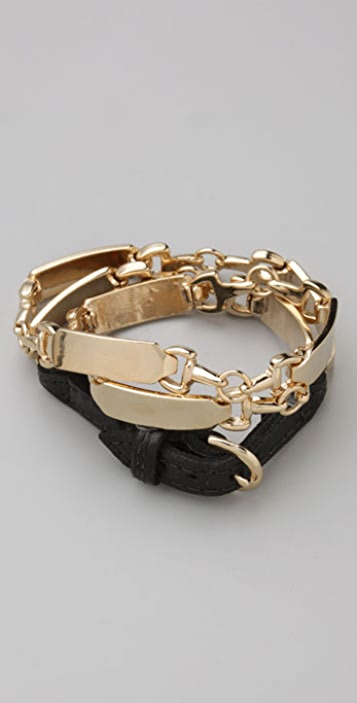 House of Harlow 1960 Metal & Leather Wrap Bracelet