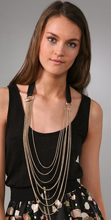 House of Harlow 1960 Chain & Leather Corset Necklace