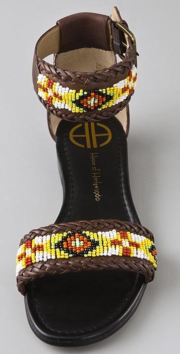 House of Harlow 1960 Saloni Beaded Flat Sandals