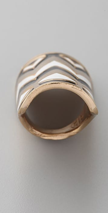 House of Harlow 1960 Enameled Tribal Wrap Ring