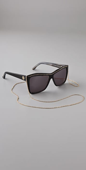 House of Harlow 1960 Black Sunglasses with Gold Chain