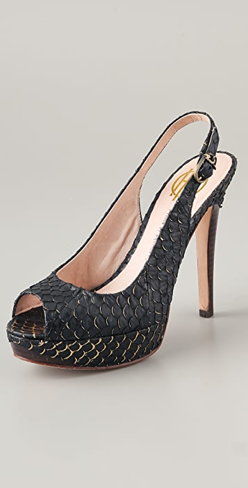 House of Harlow 1960 Nadya Open Toe Pumps