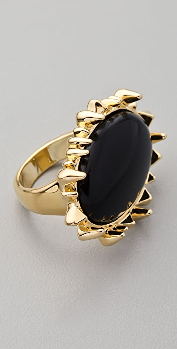 House of Harlow 1960 Spike Black Cabachon Cocktail Ring