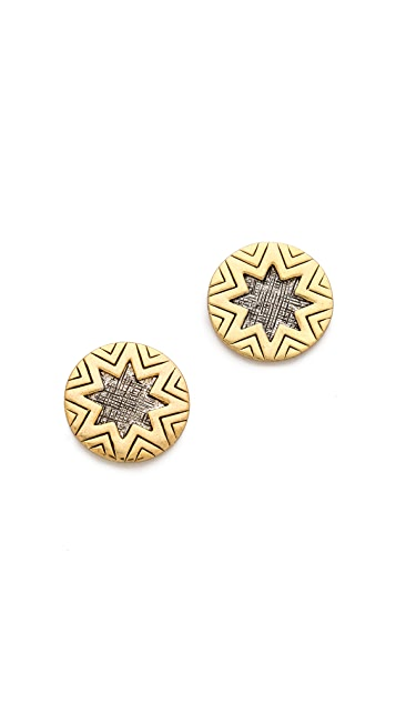House of Harlow 1960 Engraved Sunburst Stud Earrings