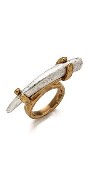 House of Harlow 1960 Two Tone Horn Stacking Ring