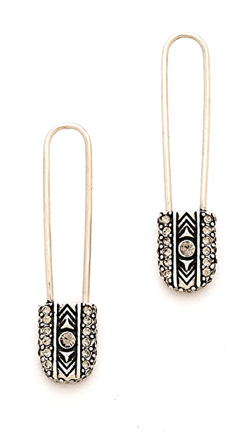 House of Harlow 1960 Pave Top Safety Pin Earrings
