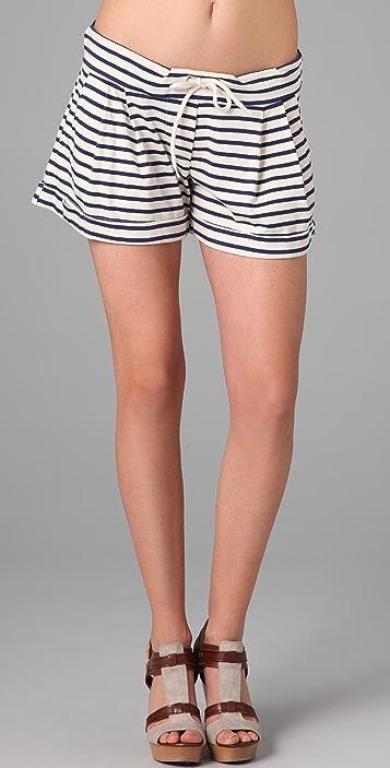 MONROW Striped Mini Shorts