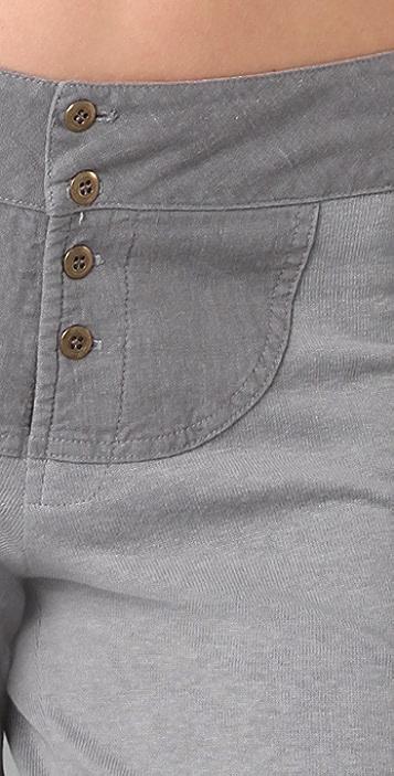 MONROW Fleece Sweatpants with Linen Panel