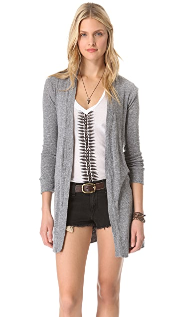 MONROW Granite Jersey Shirred Cardigan