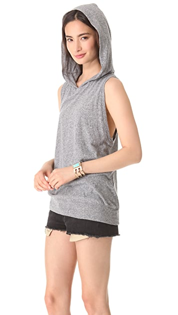 MONROW Granite Jersey Sleeveless Hoodie