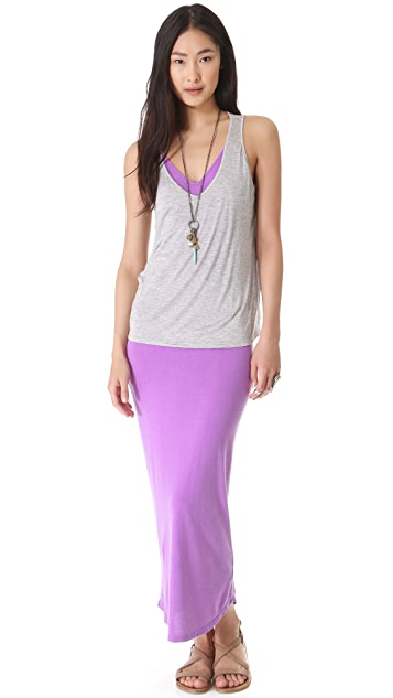 MONROW Double V Racer Maxi Dress