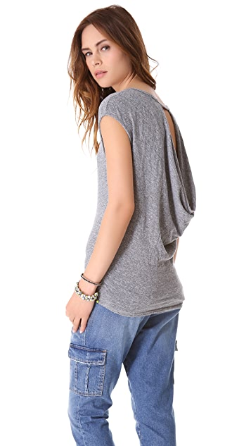 MONROW Granite Novelty Drape Back Tee