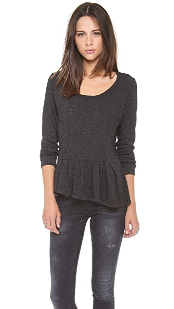 MONROW Fleece Peplum Sweatshirt Top