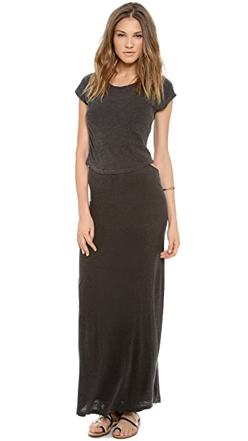 MONROW Crop Tee Maxi Dress