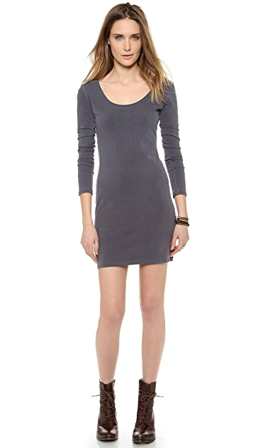 MONROW Long Sleeve Double Scoop Dress