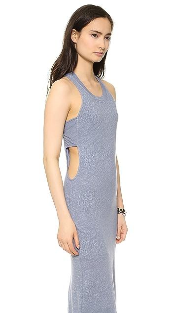 MONROW Ash Heather Jersey Bandeau Maxi Dress
