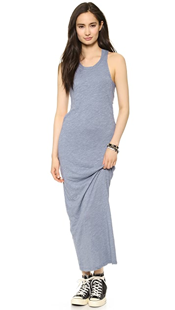MONROW Ash Heather Jersey Bandeau Maxi Dress