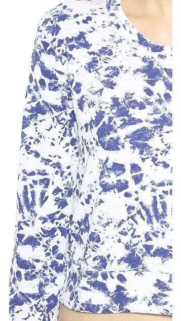MONROW Crystal Tie Dye Cropped Sweatshirt