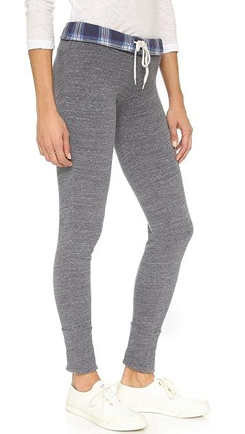 MONROW Plaid Fold Over Sweatpants