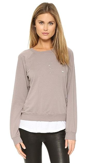 MONROW Distressed Double Layer Sweatshirt