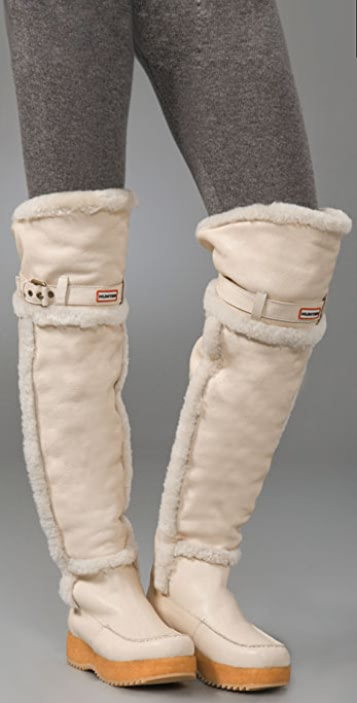 Hunter Boots Cervina Over the Knee Shearling Boots