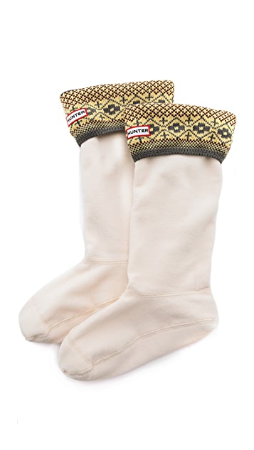Hunter Boots Fair Isle Cuff Welly Socks