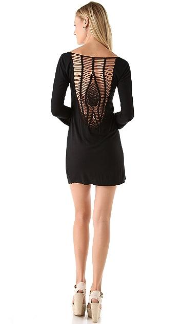 Indah Stardust Crochet Back Long Sleeve Dress