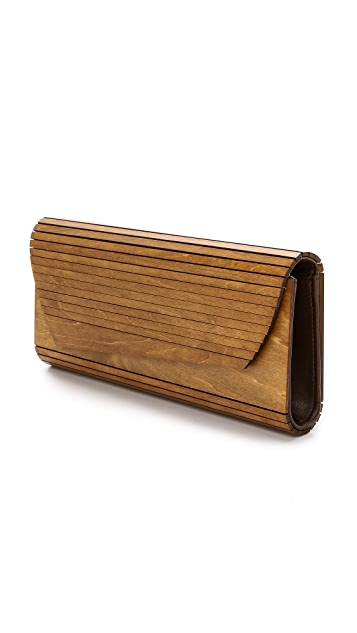 Inge Christopher Zena Wood Panel Clutch
