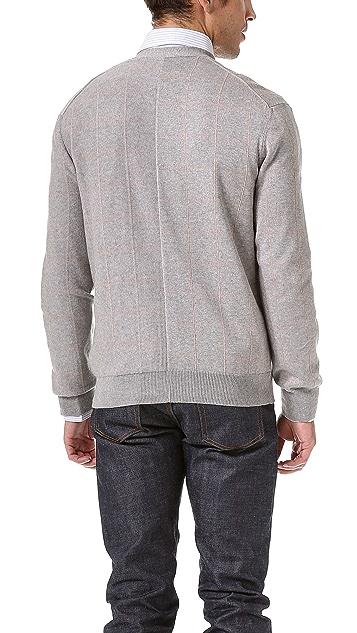 Inhabit Large Check Cardigan Sweater