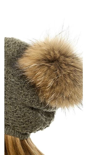 Inverni Slouchy Fur Pom Pom Hat