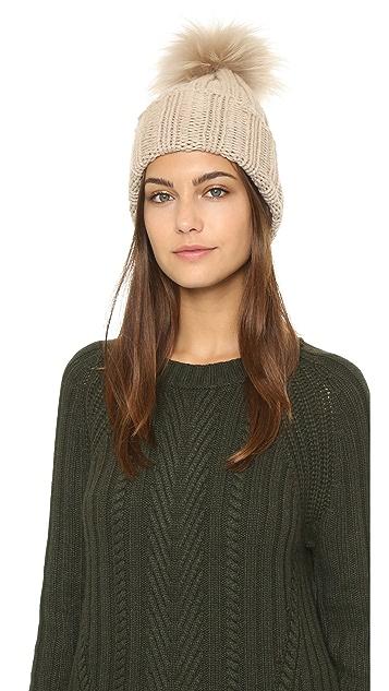 50b5e364af84 Inverni Cashmere Ribbed Pom Beanie Hat | SHOPBOP