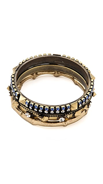Iosselliani Set of 4 Bangles with Rhinestones