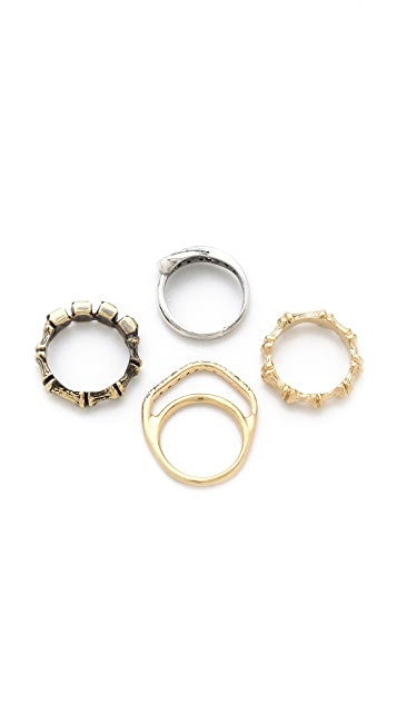 Iosselliani Stacking Mixed Crystal Ring Set