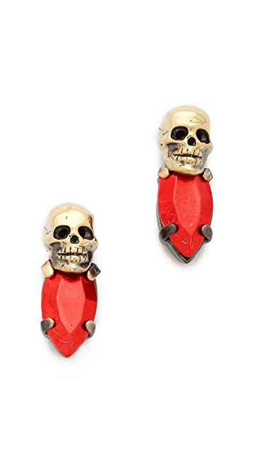 Iosselliani Fused Stone Skull Stud Earrings