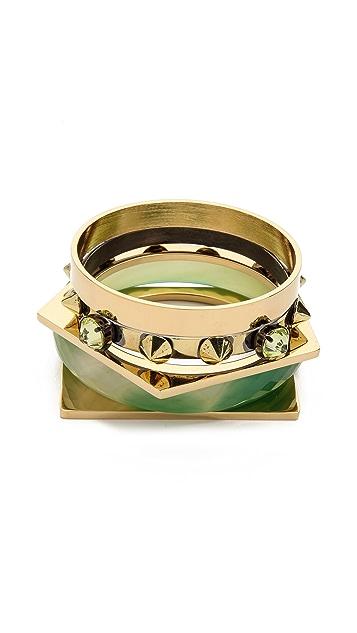 Iosselliani Agate & Brass Bangle Set