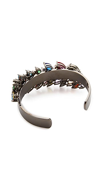 Iosselliani Multi Stone Gunmetal Cuff Bracelet