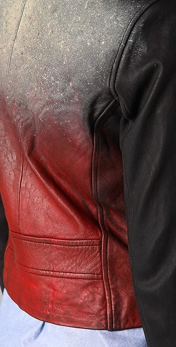 IRO Perri Leather Moto Jacket with Painted Back