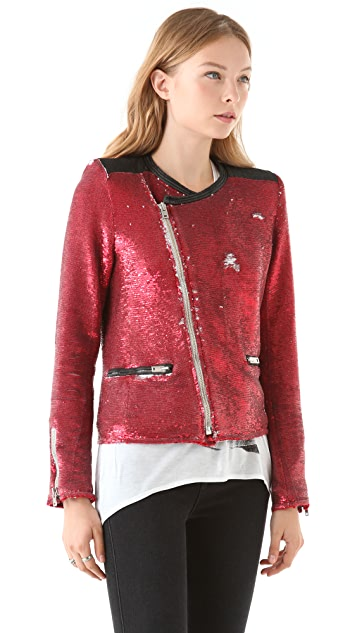 IRO Longina Sequin Moto Jacket