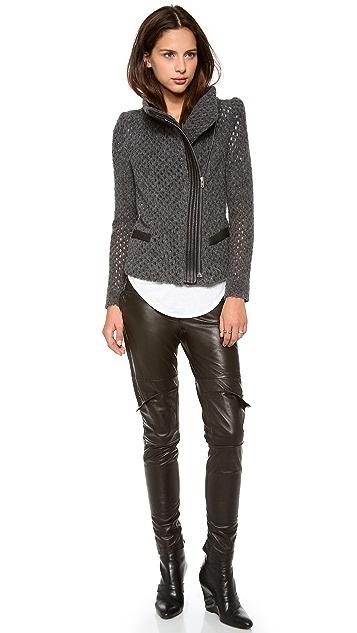 IRO Noa Open Knit Moto Jacket