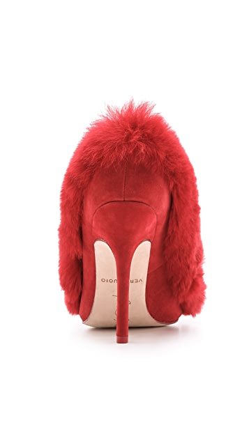 Isa Tapia Ivana Rabbit Fur Pumps