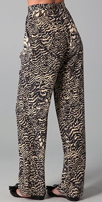 ISSA Pleated Print Pants