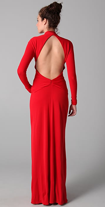 ISSA Long Sleeve Open Back Dress