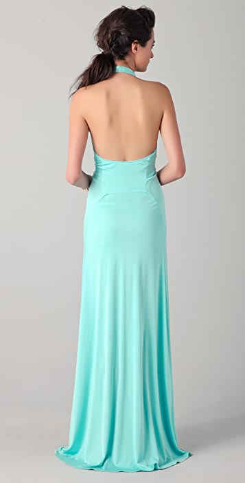 ISSA Long Sleeveless Halter Dress