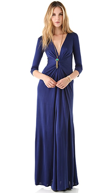 ISSA V Neck Long Sleeve Gown