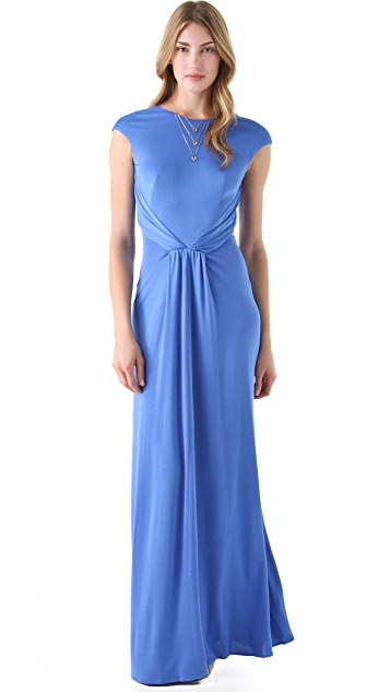 ISSA Cap Sleeve Gown with Open Back
